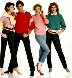 um the tights/stockings w/ pumps & trousers + polo shirts um yes ! // causal 80sby periodicult