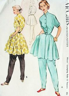 McCall's 8675 1951 Misses' Lounging Robe and Trousers Pattern