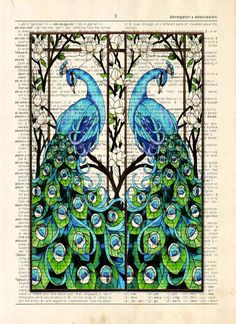 Dictionary Print: - Vintage Peacock Pair Stained Glass