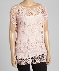 Loving this Light Pink Crochet Top - Plus on #zulily! #zulilyfinds
