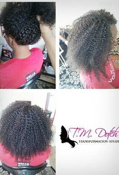 Invisible Tree Braids with Sewn Weave. Ideal for those with short hair. The perimeter is Invisible Tree Braids & the middle is matching weave sewn in. www.tmdotch.com