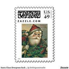 Santa Claus Evergreen Sack of Toys Postage