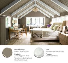 Why not take your color all the way to the top? Paint your ceiling the same color as your walls in a warm hue, like Copley Gray HC-104, and create a cozy bedroom.