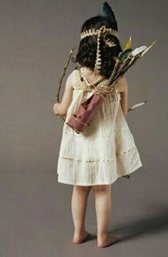 Bohemian child with bow and arrows. . . love the boho outfit. Cute little girl.