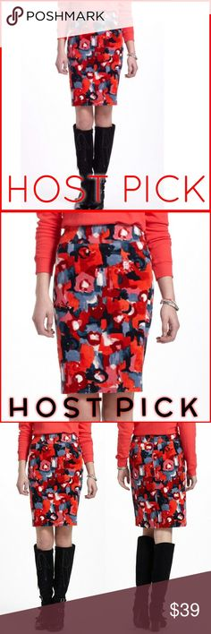 ✨HOST PICK✨Vanessa Virginia corduroy skirt Anthropologie corduroy pencil skirt by Vanessa Virginia. Great abstract watercolor print in hues of red, pink, gray and black. Fully lined. Hidden back zipper with eye and hook closure. Anthropologie Skirts