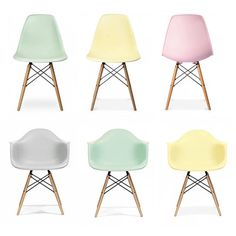 Ciel Dining Chair Pastel Pair Set Of Two (5,090 MXN) ❤ liked on Polyvore featuring home, furniture, chairs, dining chairs, colored chairs, pastel furniture, ciel, eames style chair and set of two chairs