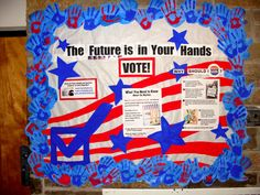 """Get out the Vote bulletin board for dorm. I had my residents """"pledge"""" to vote by making a handprint that went on the board with info about polling location, how to register, etc. Rainbow Bulletin Boards, Writing Bulletin Boards, Thanksgiving Bulletin Boards, Valentines Day Bulletin Board, College Bulletin Boards, November Bulletin Boards, Kindergarten Bulletin Boards, Interactive Bulletin Boards, Halloween Bulletin Boards"""