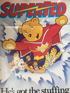 "SUPERTED Animated Series 1980s Walt Disney Vintage Home Video Poster 39"" x  26"""
