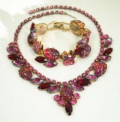 vintage antique julianna jewelry | ... Bracelet Juliana Style Pink Red Lavender Rhinestone Antique Jewelry