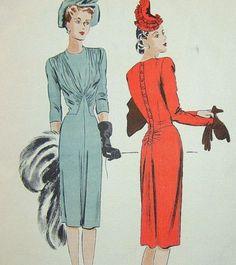1940s Vogue Couturier Design 289 Vtg Draped Godet Couture Dress Pattern