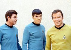Star Trek (Bones, DeForest Kelly: Spock, Leonard Nimoy: and Kirk, William Shatner. Star Trek Enterprise, Star Trek Voyager, Leonard Nimoy, Star Trek Original Series, Star Trek Series, Tv Series, Star Wars, Star Trek Tos, William Shatner