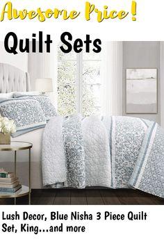 Lush Decor, Blue Nisha 3 Piece Quilt Set, King #quiltsets
