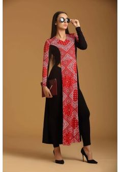 BLACK N RED WESTERN KURTA STYLE LONG DRESS  (FREE SIZE)