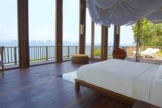 We are completely smitten with this open hotel room at Six Senses Yao Noi, #Thailand. Can you imagine waking up in this room, with views of the sunrise over the islands?