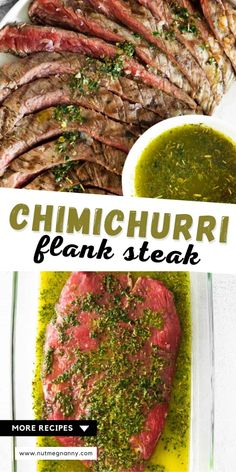 This homemade chimichurri flank steak is flavorful and grilled to perfection! If you're looking for the perfect summer grilling recipe this marinated flank steak is just what you need! Fancy Dinner Recipes, Delicious Dinner Recipes, Dinner Ideas, Easy Family Dinners, Easy Dinners, Marinated Flank Steak, Date Night Recipes, Summer Grilling Recipes, Beef Ribs