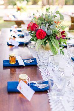 cobalt wedding details - photo by L Martin Wedding Photography http://ruffledblog.com/backyard-florida-wedding-with-cobalt-bridesmaid-dresses #tablescape #weddingtable #weddingideas