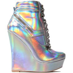 Honfleur-18 Hologram Sneaker Wedge ($25) ❤ liked on Polyvore featuring shoes, boots, heels, sneakers, wedges, silver lace up shoes, platform shoes, zipper shoes, silver shoes and high heel wedge shoes