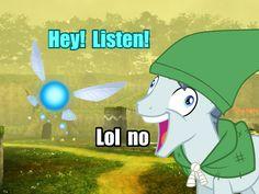 #867799 - exploitable meme, hey listen, i didn't listen, image macro, kokiri forest, link, meme, navi, ocarina of time, party favor, reverse meme, safe, spoiler:s05e01, the legend of zelda - Derpibooru - My Little Pony: Friendship is Magic Imageboard