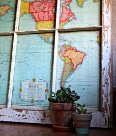 Repurpose old windows and vintage maps for a one of a kind home decor project.