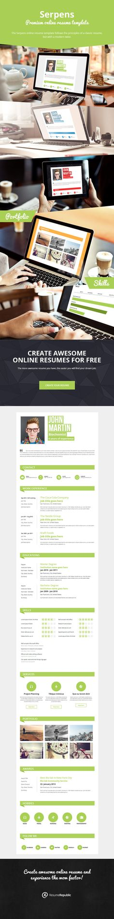 Serpens | Premium online resume template. The Serpens online resume template follows the principles of a classic resume, but with a modern twist featuring section titles with background color, a modern rating system, portfolio, sharing resume on social networks and a lot more. The Serpens online resume template has it all. #jobsearch #careers #jobs #resume #resumetemplates #onlineresumes #CV #coverletter #templates #resumes