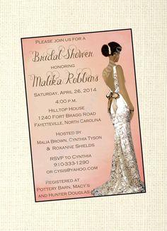 Elegant African American Bridal Shower Invitation / Gray / Wedding Dress Profile / Gorgeous Bride / Digital / Custom