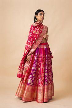 Buy Handwoven Silk Lehenga Set by Ekaya at Aza Fashions Indian Bridal Outfits, Indian Fashion Dresses, Indian Designer Outfits, Ethnic Fashion, Designer Dresses, Mehendi Outfits, Punk Fashion, Lolita Fashion, Modern Fashion