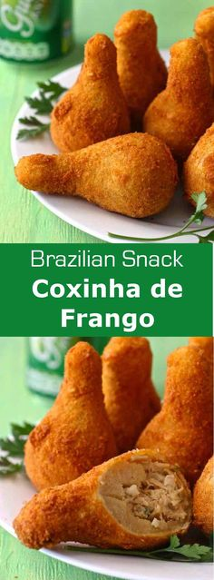 Coxinha de frango is a Brazilian drumstick shaped fritter based on a mixture of shredded chicken that is wrapped in dough, then battered and deep-fried. #streetfood #Brazil #196flavors