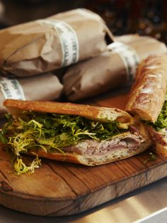 The Local Butcher Shop, great packaging. Also great looking sandwiches, that's my kind of bread. Sandwich Bar, Sandwich Shops, Baguette Sandwich, Cuban Sandwich, Sandwich Ideas, Sandwich Packaging, Food Packaging, Local Butcher Shop, Cold Sandwiches
