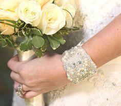 TH-122 Cuff bracelet, bridal bracelet, beaded bracelet, wedding jewelry, rhinestone bracelet, Swarovski crystal bracelet  #wedding #bracelet #vintagestyle