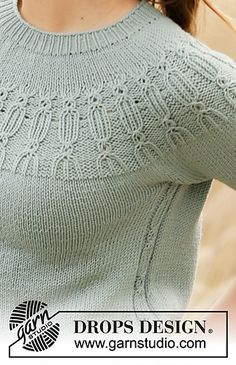 Ravelry: Wild Mint pattern by DROPS design Knitting Patterns Free, Knit Patterns, Free Knitting, Cardigan Au Crochet, Knit Crochet, Drops Design, Laine Drops, Drops Patterns, Crochet Diagram