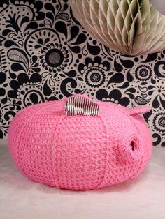 Pink pig crochet pouf nursery ottoman or children's by ohbAby1112 #crochetpouf #crochetpig #crochetpillow