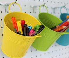 Pegboard Accessories at Chart #colourfulmetalbuckets #pegboards #pegboardaccessories #peghooks #pencils #pens #crayons #craft