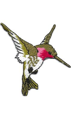 """[Single Count] Custom and Unique (2 3/4"""" by 2 1/2"""" Inches) Bird Breeds Birds In Flight Right Facing Flying Hummingbird Iron On Embroidered Applique Patch {Green, Pink, and White Colors} Best Price"""