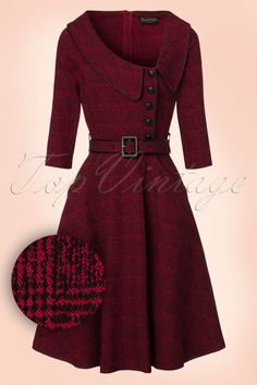 1940s Day Dresses 40s Lilly Swing Dress in Wine Red £55.07 AT vintagedancer.com