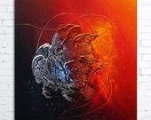 """Tableau abstrait contemporain """"MIRA"""" toile peinture moderne en relief noir rouge orange argent bordeaux étain"""