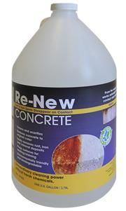 Re-New Concrete restores natural color to beauty to your concrete surfaces. Works on contact without scrubbing to dissolve and remove rust, mineral stains, and iron spots. Re-New Concrete scarifys the surfaces and whitens concrete color. Re-New Concrete can be applied to aged or new concrete surfaces to remove stains and mineral deposits, or cover the entire surface for a new concrete appearance.