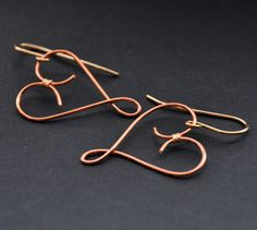 Copper Heart Earrings Gold Fill Wire Hearts by GueGueCreations, $25.00