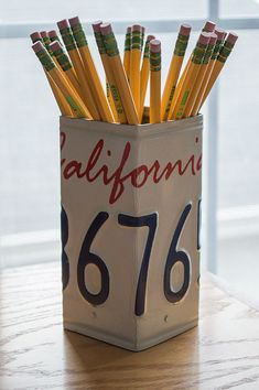 California License Plate Pencil Holder - Pencil Cup - Unique Pencil Cup - Desk Accessories - Office Decor - Pen Cup - Pen Holder - State Art
