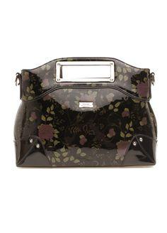 Serenade Leather - Black Vintage Rose Print Leather Handbag