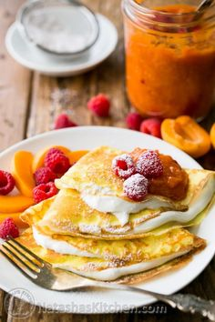 I can't seem to get enough of these crepes with greek yogurt cream. The Greek yogurt cream, apricot preserves and fresh fruit make these quite a treat!