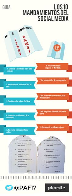 Hola: Una infografía con 10 mandamientos de las Redes Sociales. Vía Un saludo