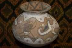 """This rare older primitive terracotta pot from Timor was all hand crafted, with unique motifs created in relief or 3D, and enhanced with hand painted natural pigments. Traditional famous """"Vermasse"""" terracotta pottery from remote East Timor Island, Indonesia. Offered by Cheetahdmr@aol.com asmatcollection on ebay and bonanza.com"""