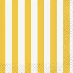 Sunflower Yellow Striped Beverage Napkins 16ct - 324842 | Party-ify! #beveragenapkins #napkins #stripes #yellowstripes #stripednapkins