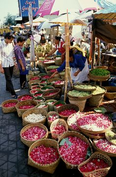 Temple Flower Offerings, Bali, Indonesia