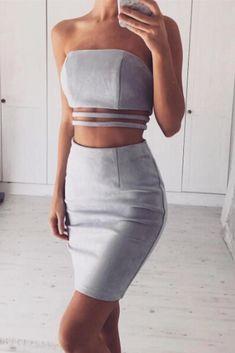 JASMINE 2 Piece Suede Top & Skirt Co-Ord - Grey