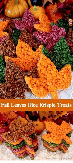 These beautiful Fall Leaves Rice Krispie Treats are delicious, easy to make and perfect for a Thanksgiving treat or an autumn potluck dessert. Who wouldn't want a colorful Rice Krispies Treat maple leaf as a Thanksgiving dessert? Desserts Potluck, Holiday Desserts, Holiday Treats, Easy Fall Desserts, Fall Recipes, Holiday Recipes, Rice Recipes, Party Recipes, Autumn Treats Recipes