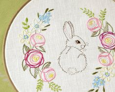 Easter embroidery, hand embroidery patterns, easter bunny, spring decor, Flowers embroidery, floral embroidery pattern by NaiveNeedle