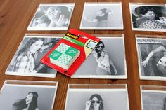 you don't even have to take these picture frames off the wall to change them! Simply print your favorite photos, cut to size, and slide into old jewel case... use double stick mounting tape to attach to the wall.