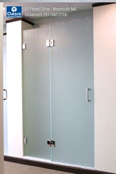 This frameless shower enclosure features a panel/door using a clip system. Glass style: Acid etched Frameless Shower Enclosures, Frameless Shower Doors, Tall Cabinet Storage, Locker Storage, Panel Doors, Pure Products, Glass, Furniture, Home Decor