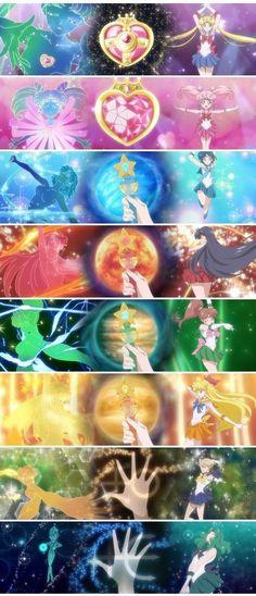 Sailor Senshi transformation's in Sailor Moon Crystal Sailor Jupiter, Sailor Venus, Sailor Pluto, Sailor Neptune, Sailor Moons, Sailor Moon Fond, Arte Sailor Moon, Sailor Moon Crystal, Sailor Scouts